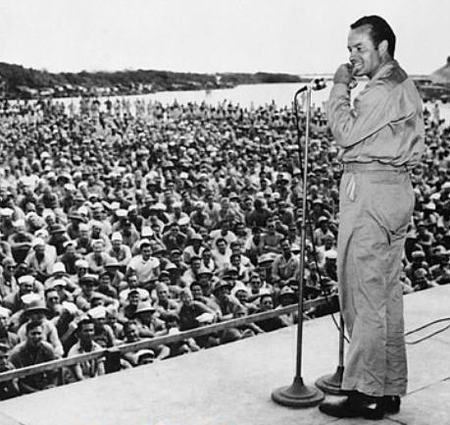 Bob Hope entertains the troops during World War II