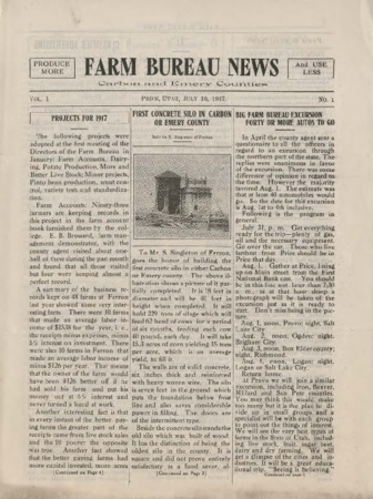Farm Bureau News, Carbon and Emery Counties, 1917