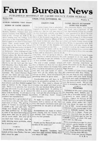 Farm Bureau News, Cache County, Volume VIII, Number 4, September 1923