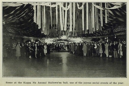 Scene at the Kappa Nu Annual Hallowe'en ball (circa 1925)
