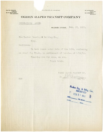 J.W. Bailey to Becker Brewing and Malting Company, Outstanding Account Balance, 1911<br />