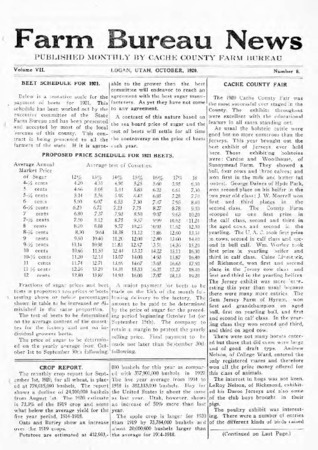 Farm Bureau News, Cache County, Volume VII, Number 6, October 1920