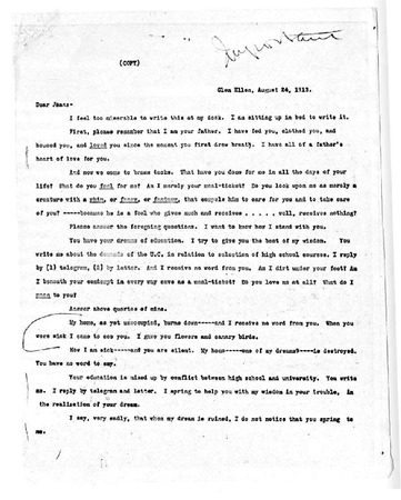 Jack London letter to Joan London, dated August 24, 1913