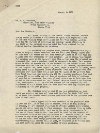 Correspondence to Mr. A.W. Chambers from F.R. Wilcox and J.C. Lettice, 1937-1938