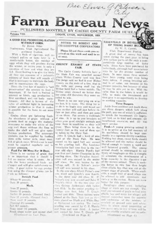 Farm Bureau News, Cache County, Volume VIII, Number 6, November 1924 version 2