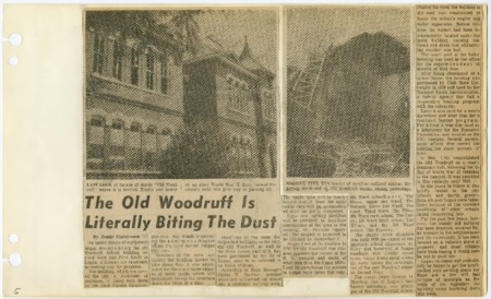 Newspaper article about closing of Woodruff School