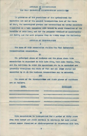Articles of Incorporation and by-laws of the Utah Industrial Reconstruction Association