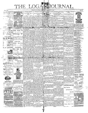 Logan Journal front page, January 1, 1890