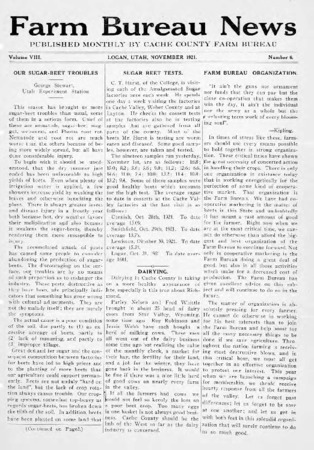 Farm Bureau News, Cache County, Volume VIII, Number 6, November 1921