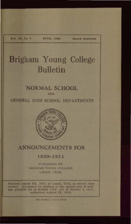 Brigham Young College Bulletin, June 1920