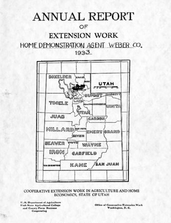 Annual Report of Extension Work, Home Demonstration Agent, Weber County, 1933