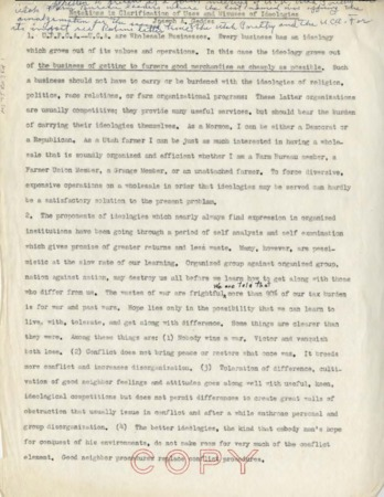 Notations in Clarification of Uses and Misuses of Ideologies by Joseph A. Geddes