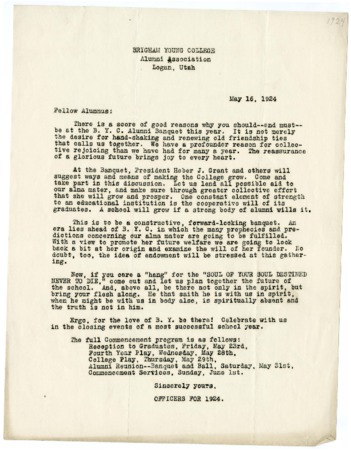Letter to BYC Alumni regarding the 1924 BYC Alumni Banquet (May 16, 1924)