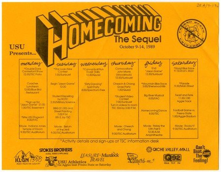 Homecoming: The Sequel, schedule of events, 1989