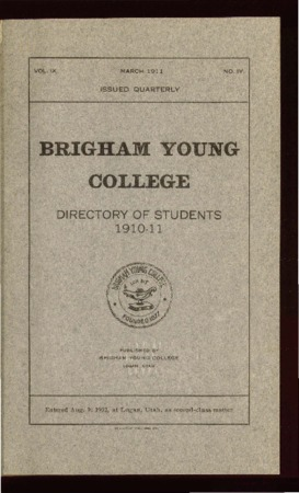 Brigham Young College Directory of Students 1910-11