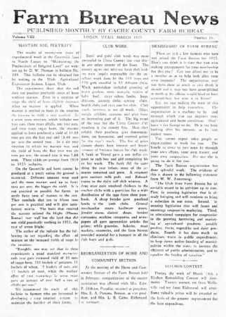 Farm Bureau News, Cache County, Volume VIII, Number 10, March 1925