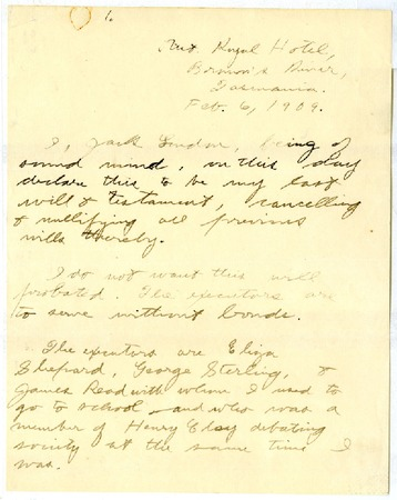 Jack London's will, dated February 6, 1909