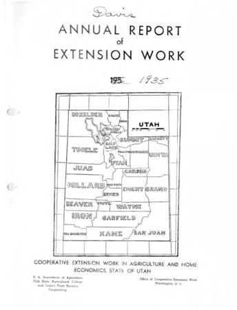 Annual Report of Extension Work Agents, Davis County, 1935