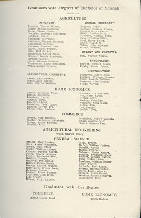1913 UAC Commencement Program Page 2