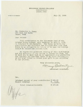 Letter to Frederick P. Champ from Mary Ballantyne returning his contributions to the Endowment Fund of Brigham Young College, 1926 July 12