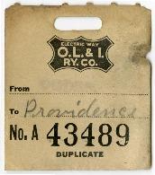 O.L.I Baggage Claim Ticket No. A43489, 1918<br />