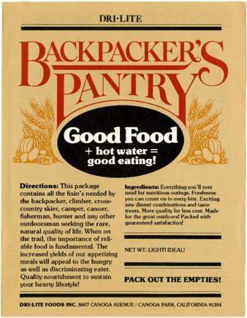 Dri-Lite, Backpacker's Pantry, undated
