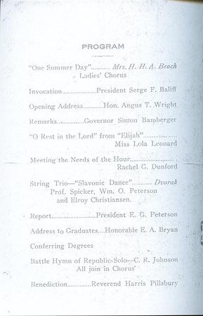 1918 UAC Commencement Program Page 1