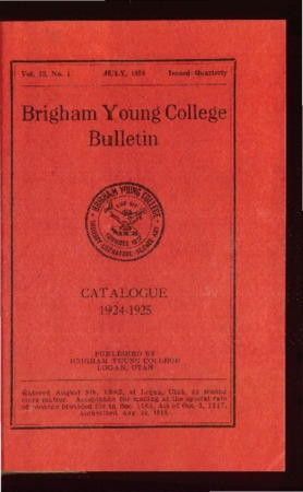 Brigham Young College Bulletin, July 1924