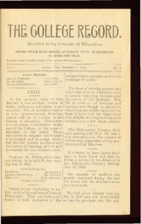 The College Record, December 7, 1892