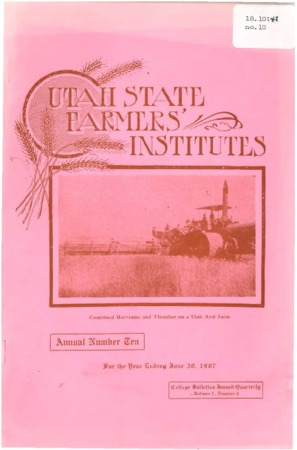 Tenth Annual Report of the Farmers Institute and Housekeepers Conference