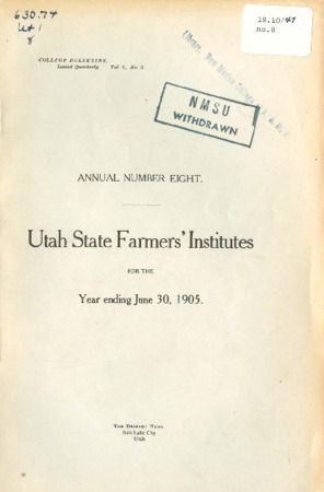 Eight Annual Report of the Farmers Institute and Housekeepers Conference