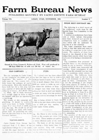 Farm Bureau News, Cache County, Volume VII, Number 7, November 1920