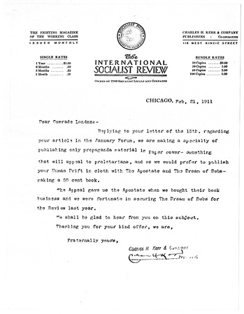 Letter to Jack London from The International Socialist Review publisher, dated February 21, 1911