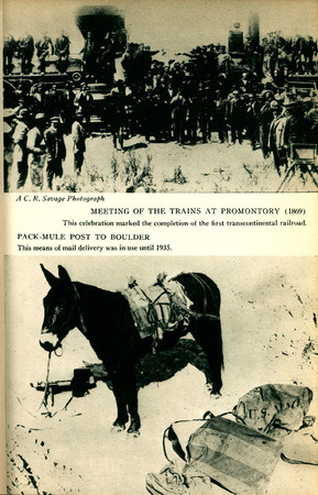 Utah State Guide Images of the Meeting of the Trains at Promontory (1869) and a Pack-Mule Post to Boulder