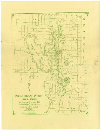 "Map, ""Interurban Lines of Utah and Idaho""<br />"