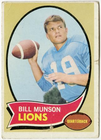 Football card - Bill Munson, Detroit Lions, 1970