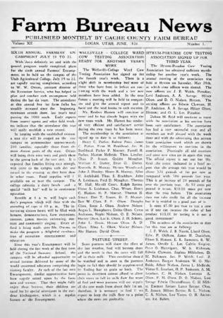 Farm Bureau News, Cache County, Volume XII, Number 1, June 1926
