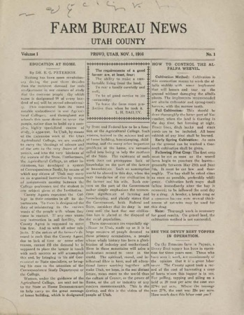 Farm Bureau News, Utah County, 1916-1922