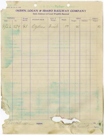 O.L.I. Waybill Abstract, April 22, 1918<br />
