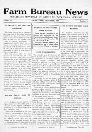 Farm Bureau News, Cache County, Volume III, Number 8, December 1920
