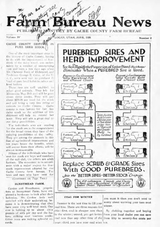 Farm Bureau News, Cache County, Volume IV Number 2, June 1920