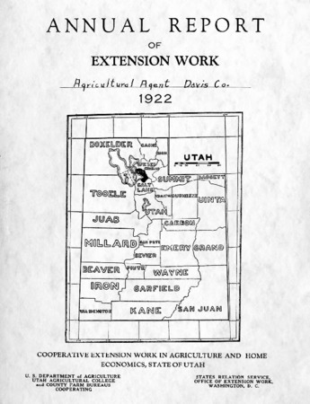 Annual Report of Extension Work, Agricultural Agent, Davis County, 1922