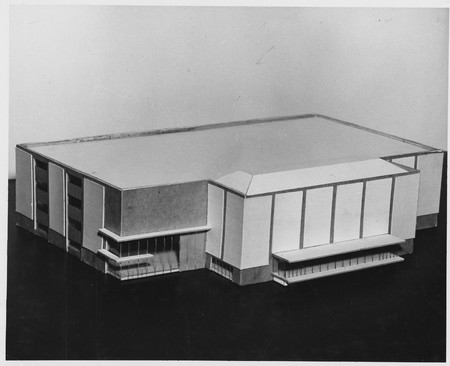 Architectural model of the Merrill Library before the construction began, 1963