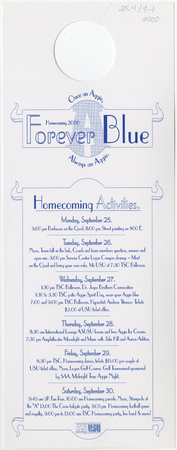 """Forever Blue"" flyer for USU Homecoming, 2000"