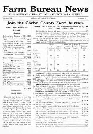 Farm Bureau News, Cache County, Volume VII, Number 9, January 1921