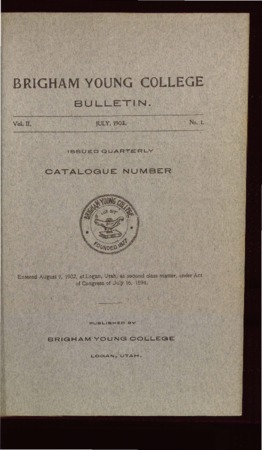 Brigham Young College Bulletin, July 1903