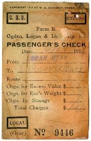 O.L.I Passenger's Check No. 9446, 1918<br />