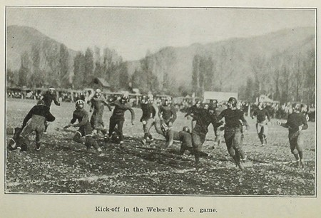 Kick-off in the Weber-BYC game (circa 1925)