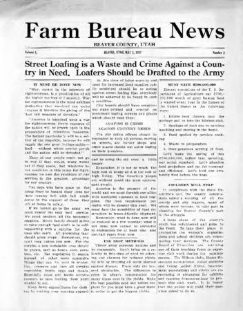 Farm Bureau News, Beaver County, 1917-1918