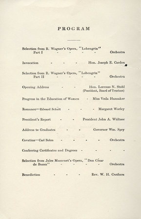 1913 UAC Commencement Program Page 1